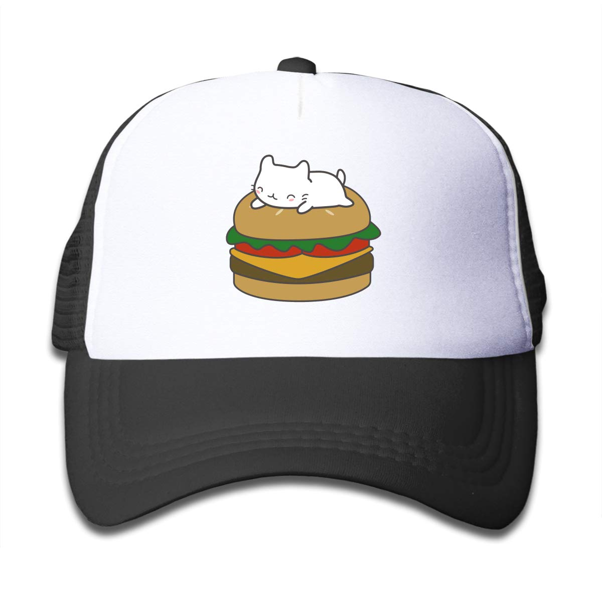 Kawaii Cat On Burger Children Trucker Cap Hat Black