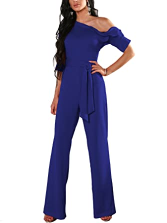 523ea051e97 VintageRose Women s One Shoulder Solid Jumpsuits Wide Leg Long Romper Pants  with Belt Small Dark Blue