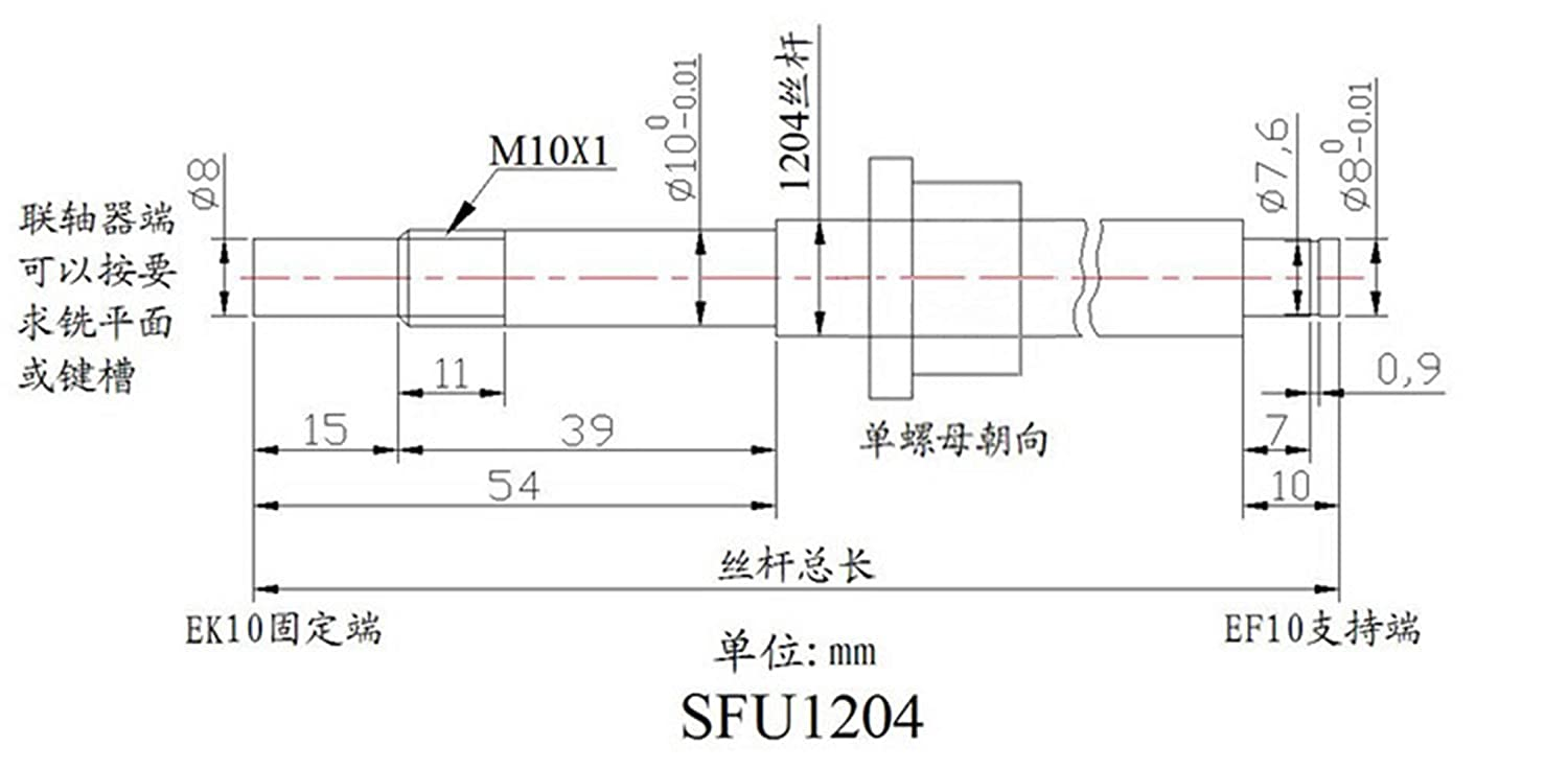 TEN-HIGH Ball screw CNC parts SFU1204 RM1204 12mm 400mm with nut with BK//BF10 Standard End Machining length Approx 15.75inch 400mm