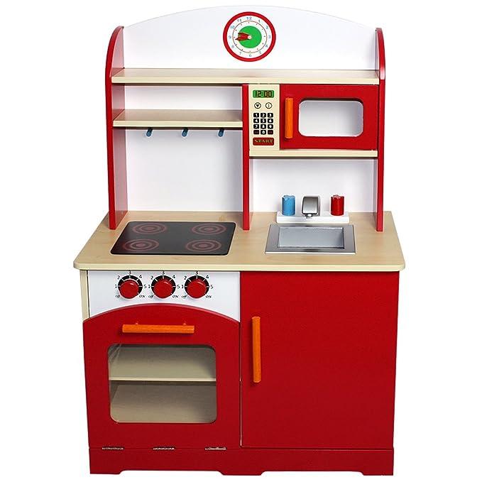 Infantastic® - Cocina de juguete de madera aprox. 61 x 33 x 93 cm