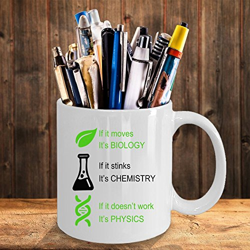 Hasdon-Hill Biology, Chemistry, Physics Coffee Mug,, Funny Tea Cup Idea for Him Or Her Science, Women and Men, Mother, Parent, Sister, Brother, Ceramic 11 Oz White by Hasdon-Hill (Image #2)