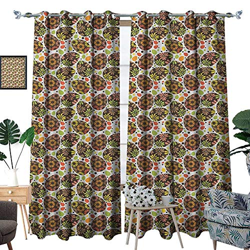 Warm Family Easter Thermal Insulating Blackout Curtain Egg Shapes with Abstract Flower Motifs Colorful Petals Spotty Joyful Holiday Pattern Patterned Drape for Glass Door W72 x L108 Multicolor
