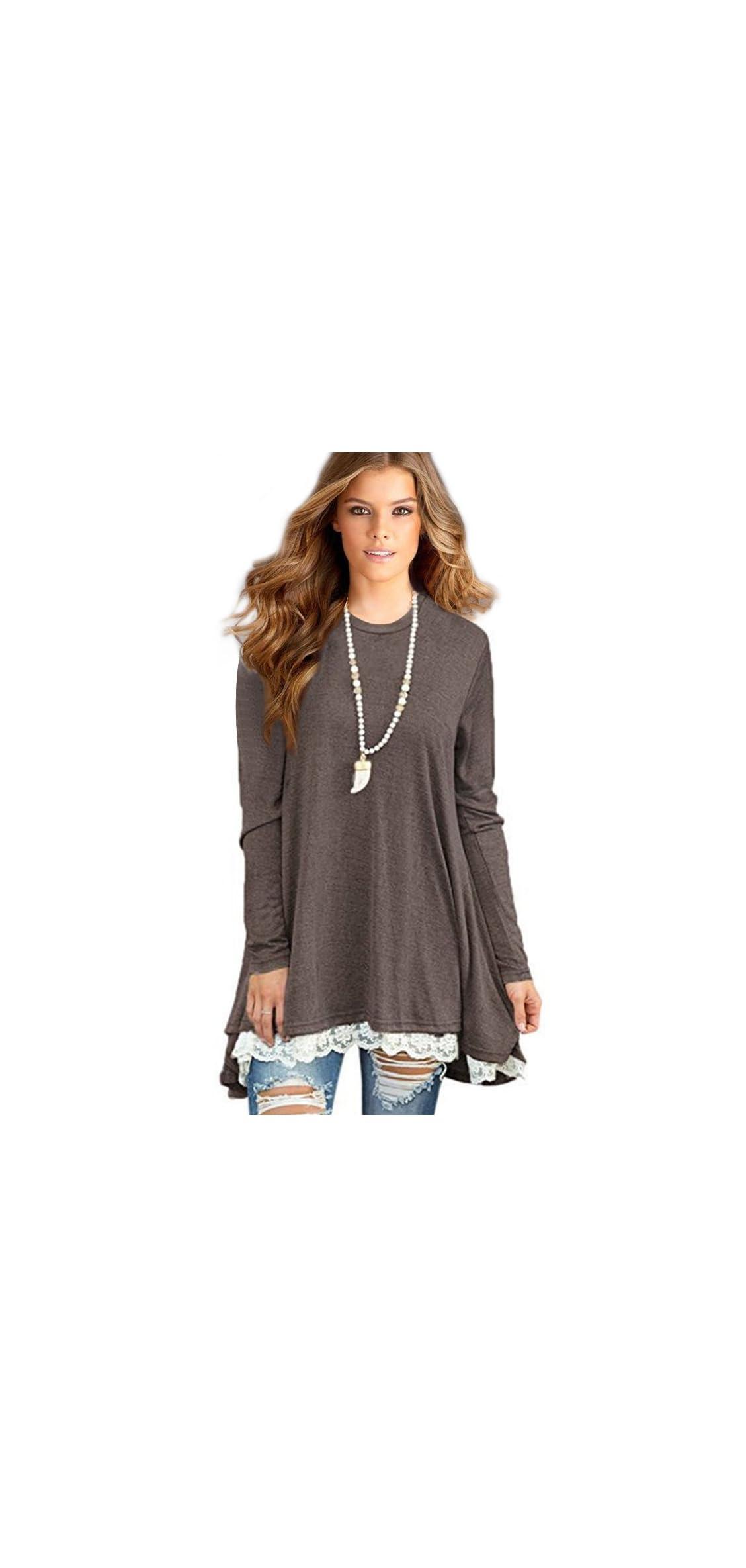Women's Lace Long Sleeve Tunic Tops Shirt Clothing Scoop