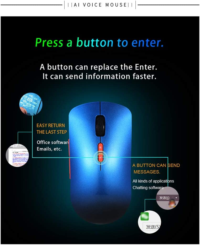Blue Wireless Voice Mouse 2.4GHz Smart AI Voice Typing Searching and Translation Rechargeable Ergonomic Computer Mousefor Windows//Laptop//PC