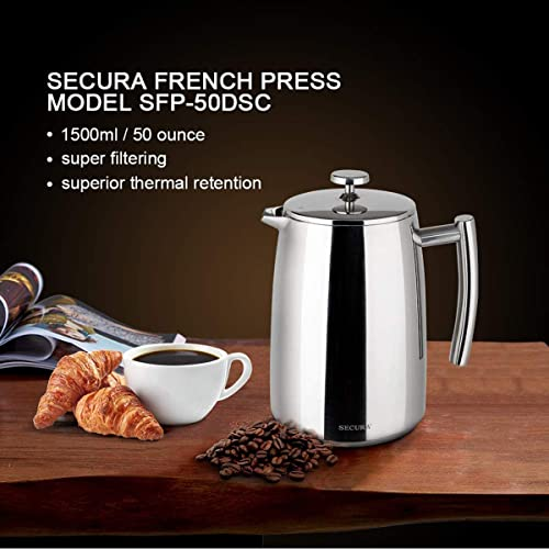Secura French Press Coffee Maker, 50-Ounce, 18/10 Stainless Steel Insulated