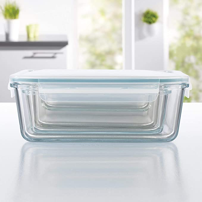 GOURMETmaxx Set de 4 contenedores de alimentos de vidrio con pared divisoria cierre cu/ádruple y sello de silicona incluyendo la tapa perfecta conservaci/ón del aroma de la comida