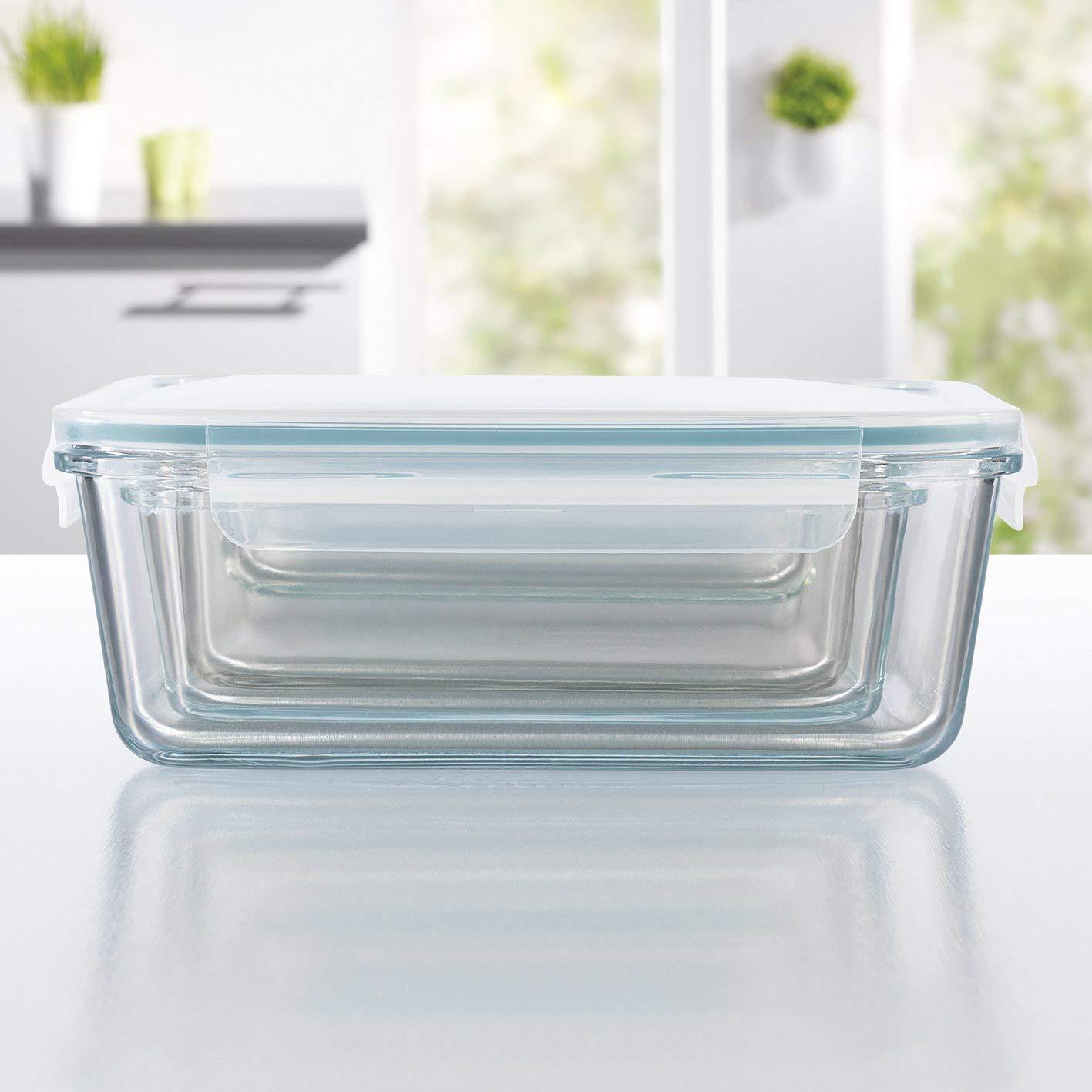 GOURMETmaxx Contenedores de almacenamiento de vidrio con tapa para alimentos Transparente sistema de clic Paquete de 8
