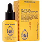 Beard Oil 1 fl oz by Seven Potions. Sweet and Woody Scented Beard Softener. Stops Beard Itch. Natural, Organic, Vegan, Beard