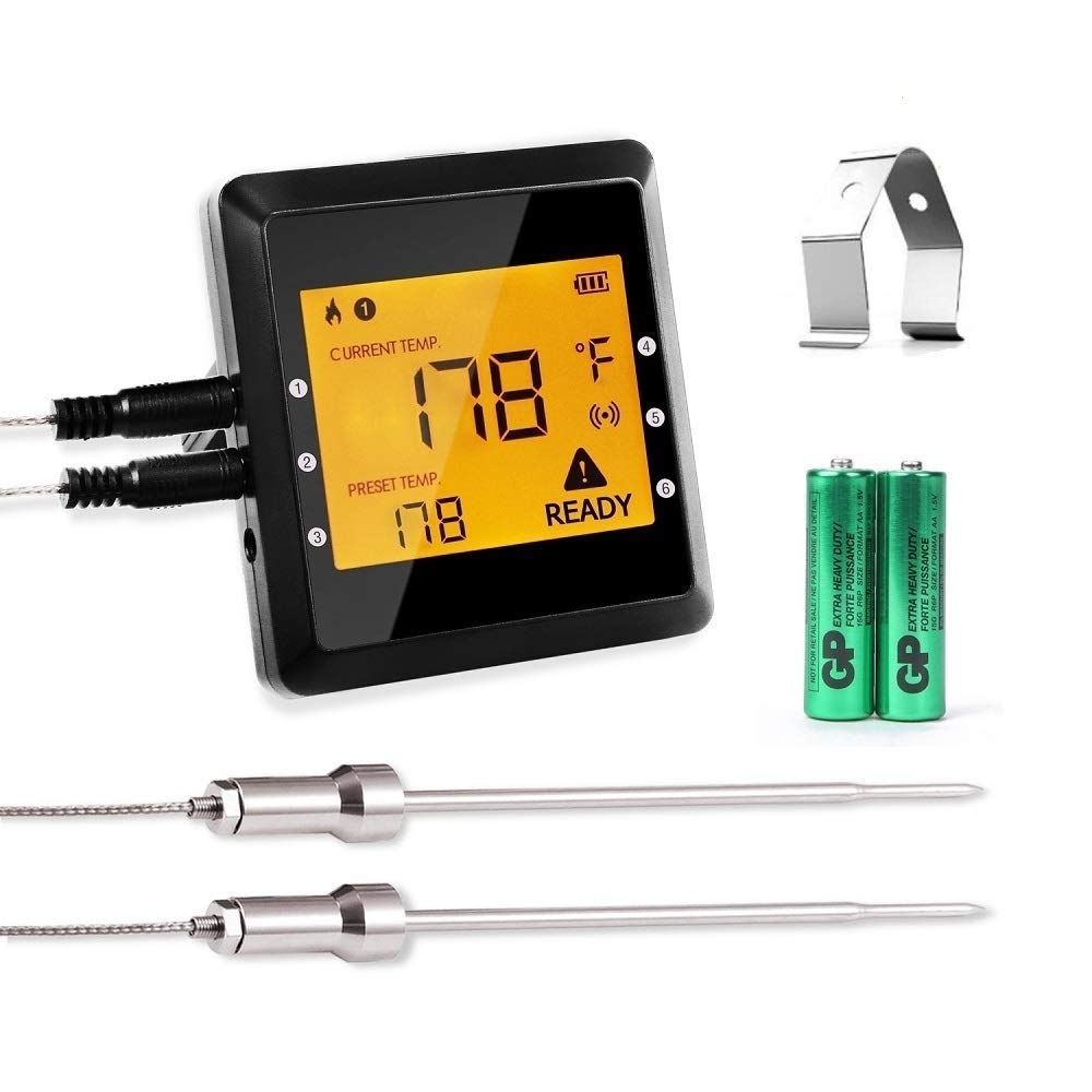 Digital Meat Thermometer,ICOCO Best Smart Wireless Bluetooth Meat Thermometer with 6 Probe Ports Upgraded Backlight Kitchen Food Thermometer and Easy BBQ Meat Thermometer for Grill,Cooking,Oven,Smoke
