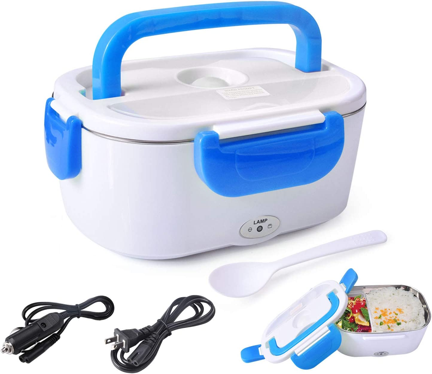 Electric Lunch Box Food Heater Warmer 2 in 1 for Home Office 110V and Car Truck 12V 40W Use Include 1.05L Removable Stainless Steel Container Spoon and 2 Compartments (Blue)