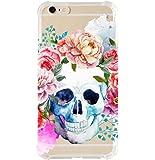 iPhone 6/6s plus Shock Absorption Case (5.5 inch screen), watercolor flower skull Design
