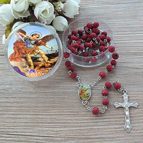 St. Michae Rosary Favor (12 PCS) -Rose Petal Wood Scentd Beads Gift Box Organza Bag