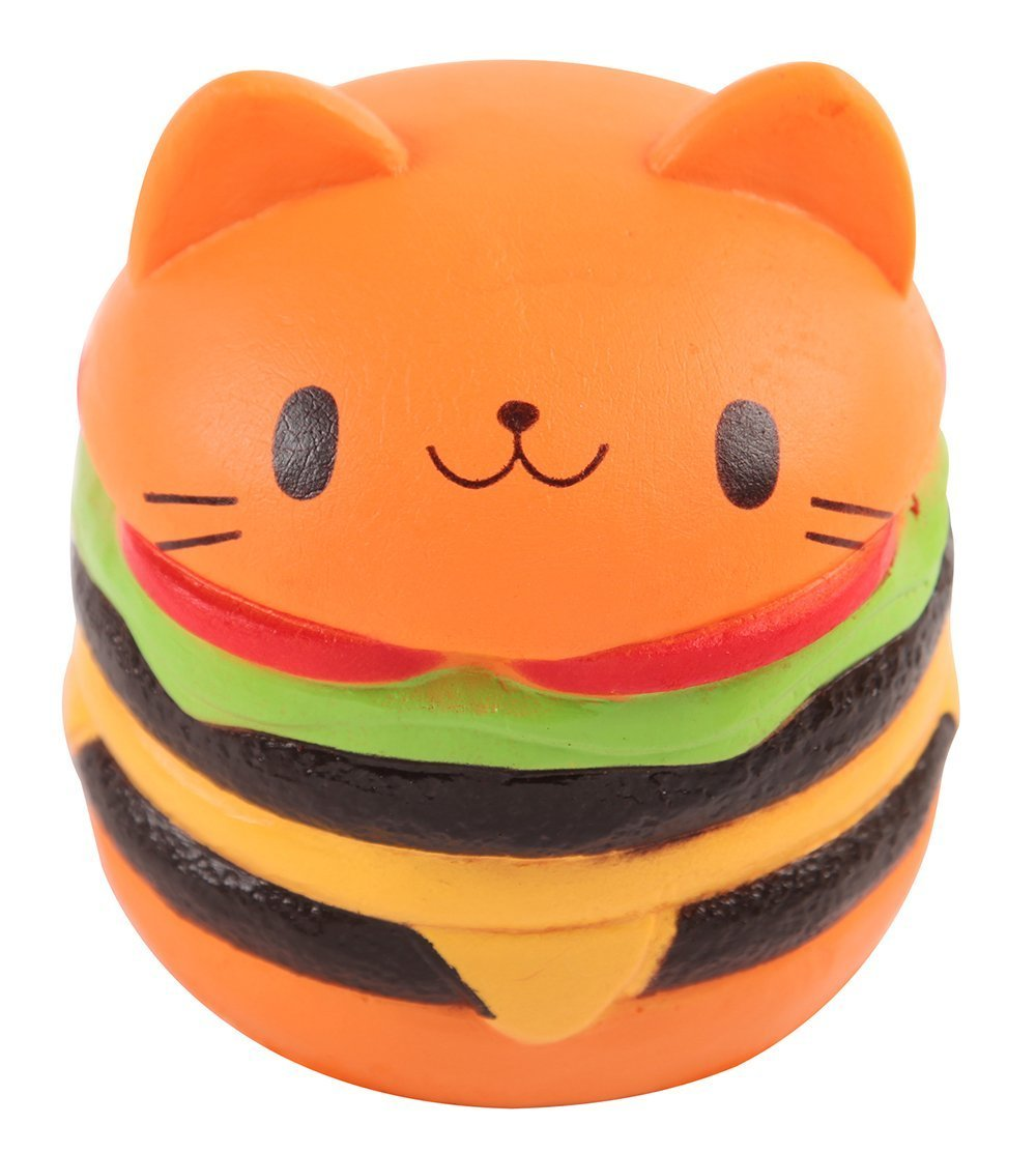 BeYumi Jumbo Slow Rising Toy, Kawaii Squishy Cat Hamburger Cream Scented Bread Decompression Squeeze Toys for Collection Gift, decorative props Large or Stress Relief(Hamburger)