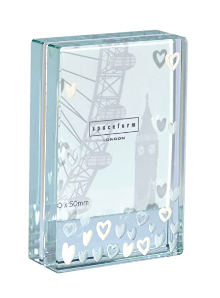 24888e68d444 Spaceform Glass Dinky Frame Lots Of White Hearts 1257  Amazon.co.uk   Kitchen   Home