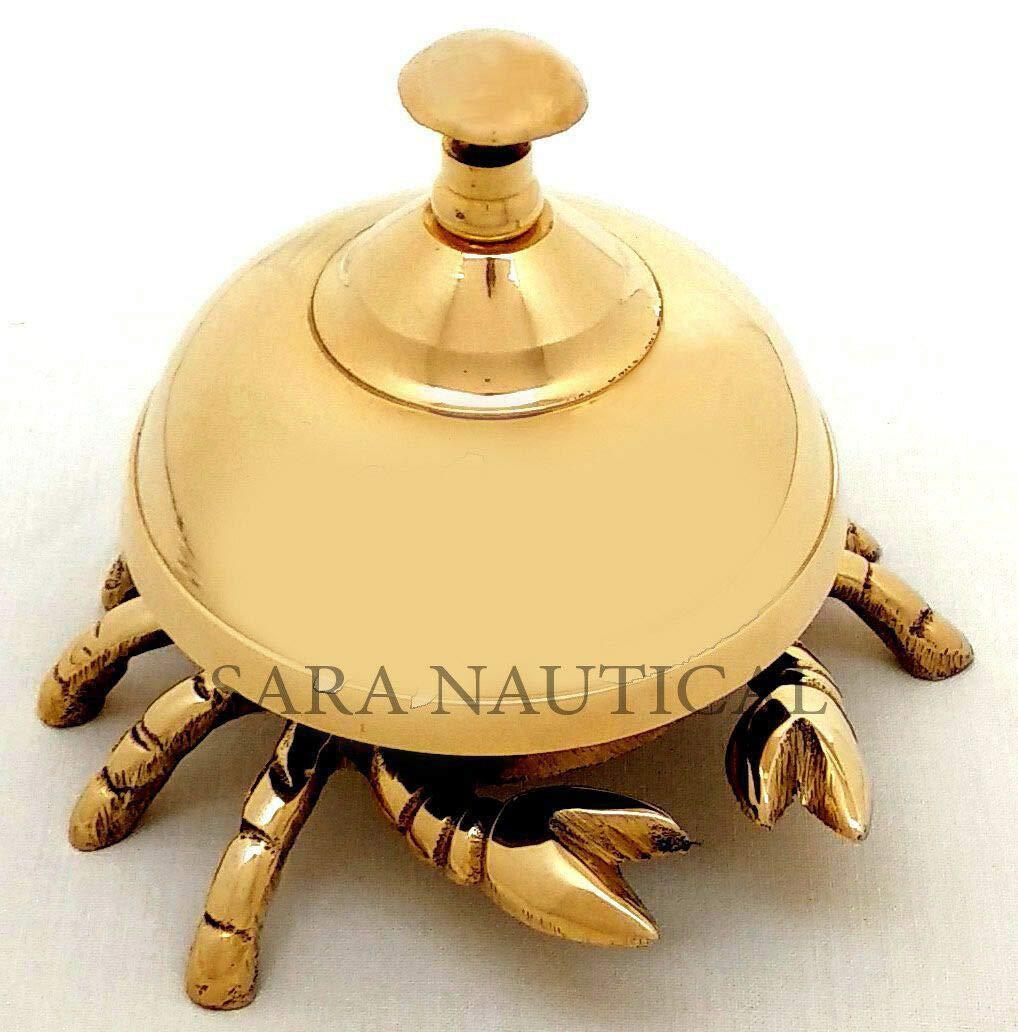 Sara Nautical Vintage Antique Brass Crab Bell Hotel Counter Reception Bell Teacher Desk Bell