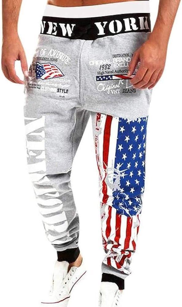 N/ A Pantalones de Hombre Pantalones de chándal con Estampado de Bandera de EE. UU. para el día Pantalones Largos causales Masculinos Streetwear