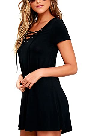 Astylish Womens Casual Short Sleeve Losse Fitting Front Lace Up Cute Swing Mini Dress Large Black