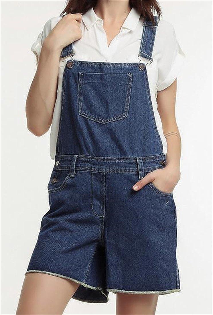 Conffetti Womens Denim Cut Off Baggy Summer Jeans Washed Junior Bib Overalls