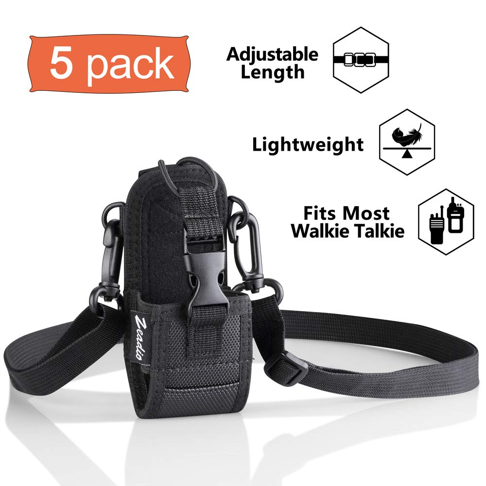 Zeadio Multi-Function Pouch Case Holder for GPS Phone Two Way Radio (ZNC-D, Pack of 5)
