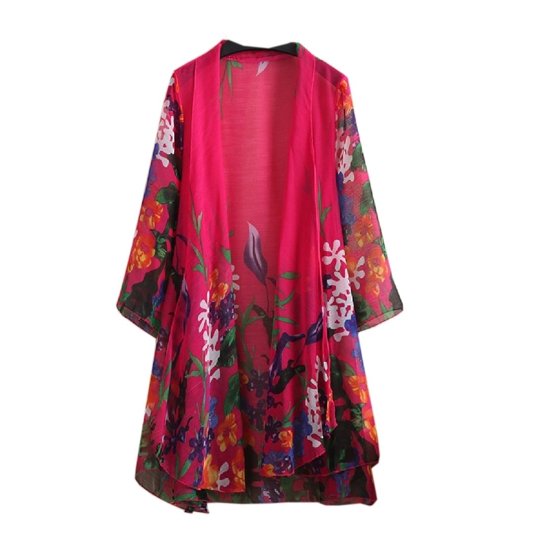 YUNY Women Chiffon Floral Longline Relaxed Fit Coat Sunscreen Clothing Rose red 3XL