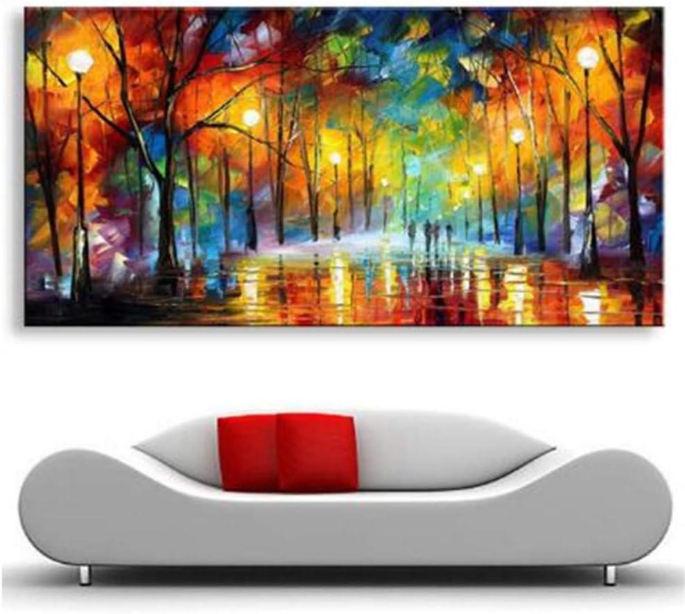 Pintado a mano Pintura moderna abstracta Cuadros grandes Árboles de la noche Carretera Paleta Cuchillo Pinturas al óleo sobre lienzo Arte de la pared-60x120cm Sin marco