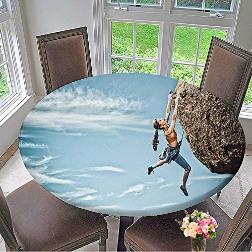 """Mikihome Round Premium Tablecloth Female Rock Climber Struggles to Reach her Next Grip as she Battles her Way up a steep Cliff Stain Resistant 35.5""""-40"""" Round (Elastic Edge)"""