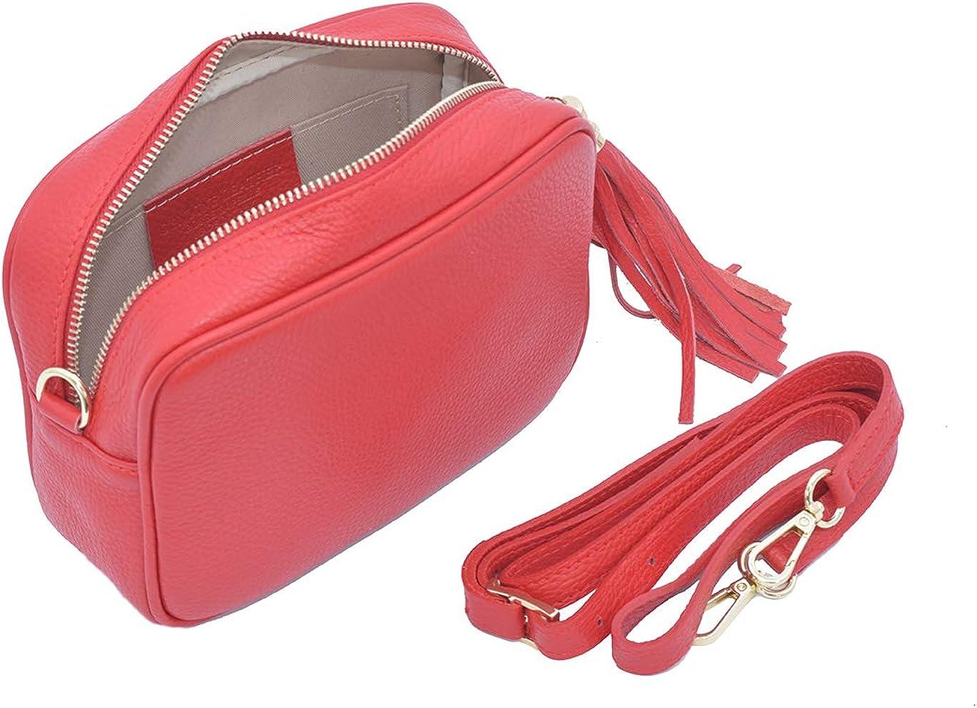 A to Z Leather Borsa da donna a tracolla morbida e compatta in vera pelle per donna con nappa in pelle e hardware dorato Rosso