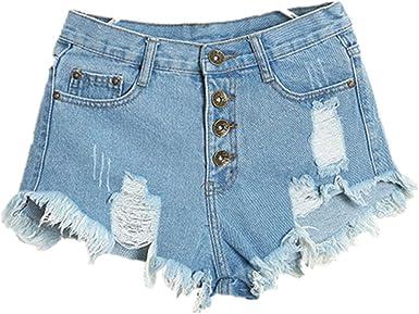 Bonjouree Shorts Jeans Troué Femme Taille Haute Pantalons Denim Ete de Plage