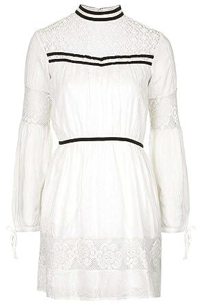 Topshop Velvet Trim Lace Lacy White Cream Victorian Edwardian Femmine Vintage Dress (UK 10)