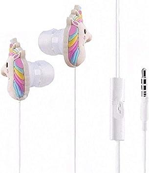 Cute unicorn headphones earbuds suitable to mic bundle set