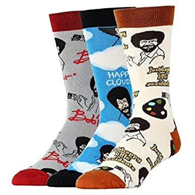 speical offer fashionablestyle 2019 authentic OoohYeah Men's Bob Ross Novelty Funny Socks