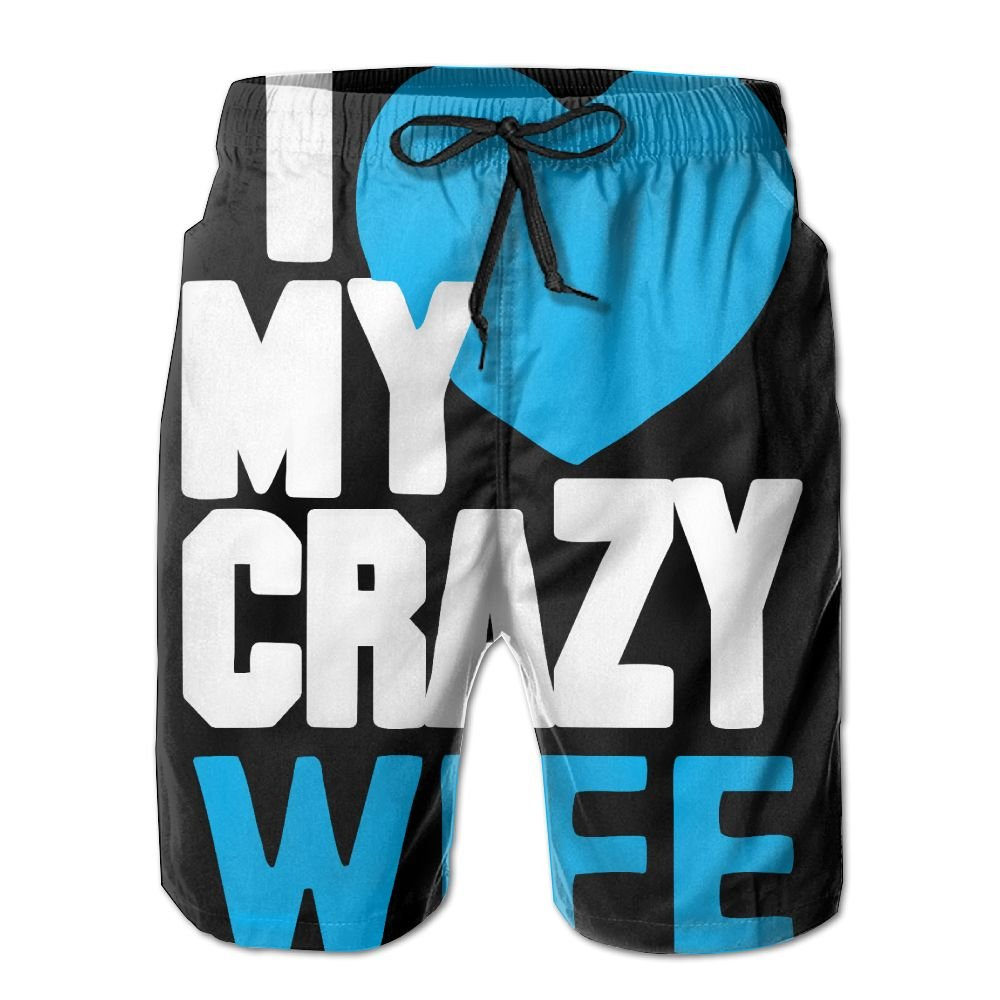 I Love My Crazy Wife Couple Mens Quick Dry Beach Board Shorts Swim Trunk