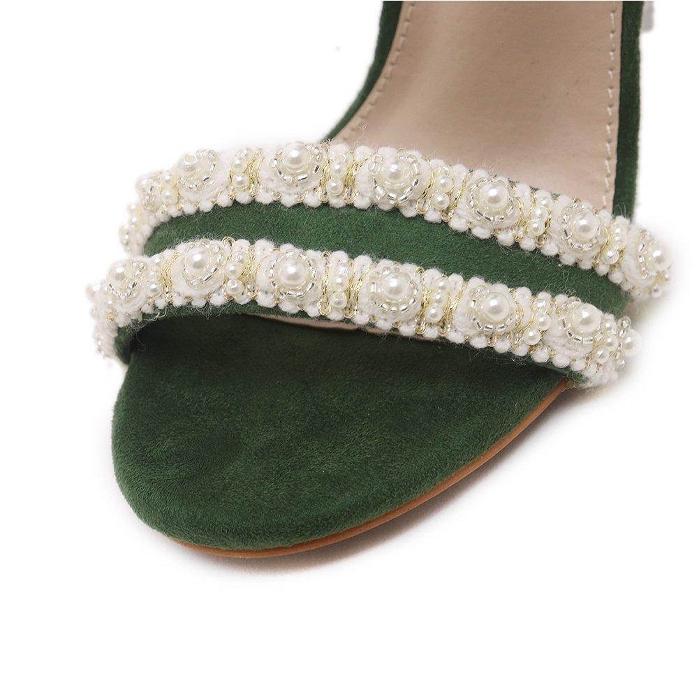 SASA Frauen High Heel Sandaletten Sandaletten Sandaletten Wild Sommer Neue Fisch Mund Perlen Strass Dick mit Transparenten Sandalen, EU39/UK6 - ff225c