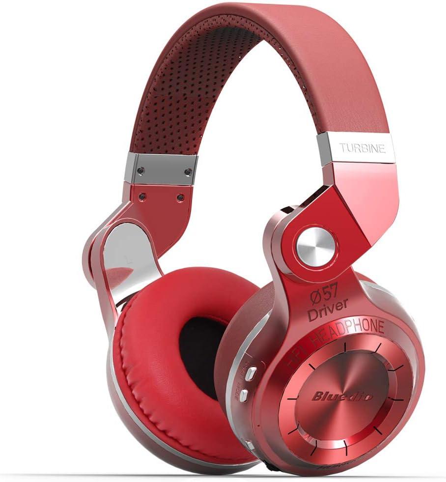 Bluedio Turbine 2 Shooting Brake T2SRCA001 - Auriculares inalámbricos Bluetooth con micrófono plegable, color rojo