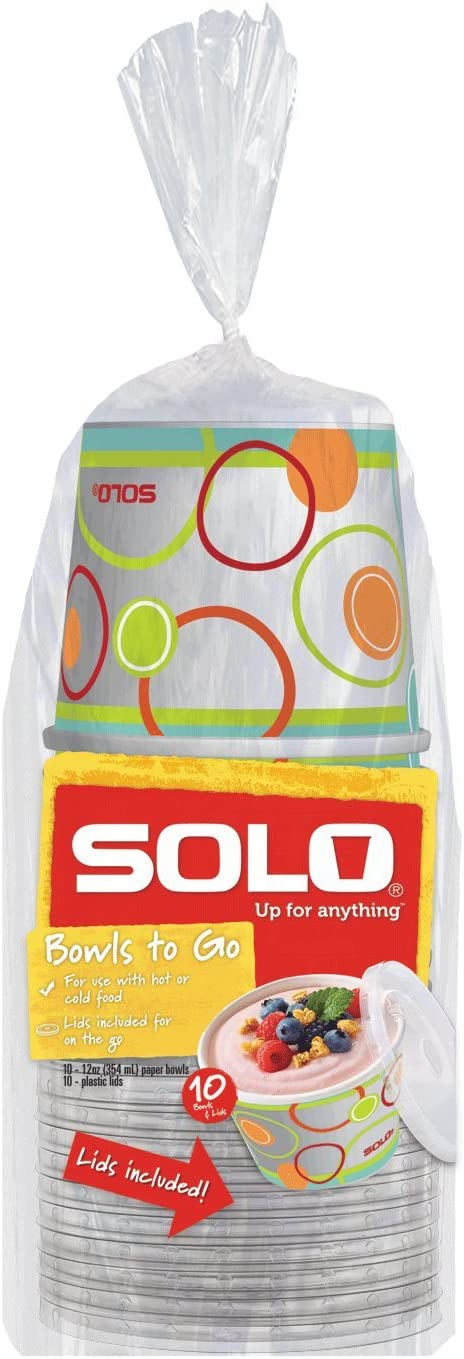 Solo Snack Bowl, 12 Ounce, 10 Bowls & Lids