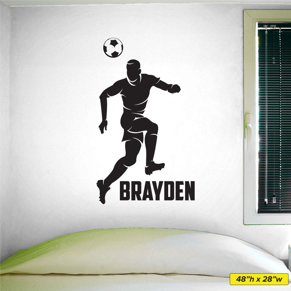 Custom Name Boys Soccer Head  -0275- Personalized Boys Soccer Wall Decal -  Soccer Theme Wall Decal - Header
