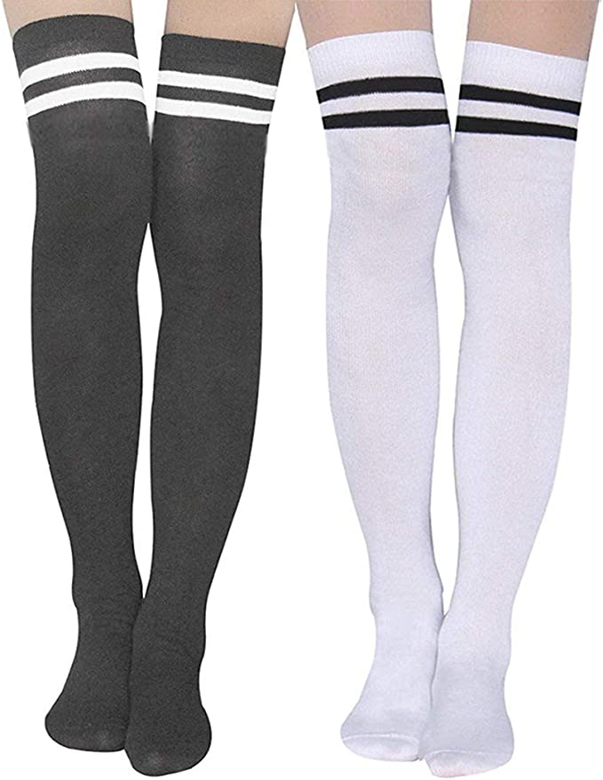 Women/'s//Ladies Striped Over The Knee Thigh High Socks