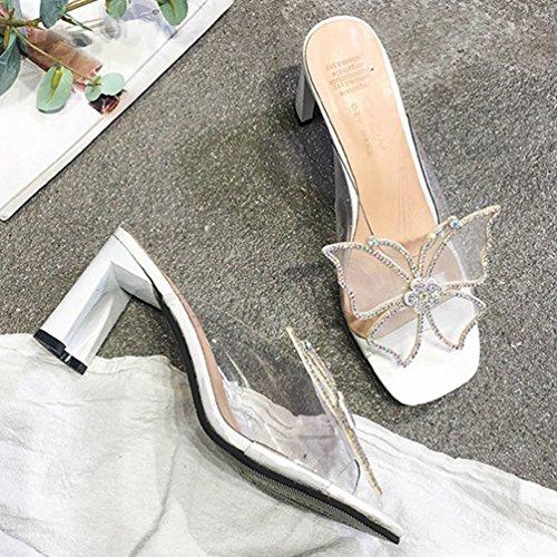 Tongs Strass Blanc Femmes Carrés Talons Chaussures Hauts Transparent Mules Bling Papillon Sandales wpSqxvOxW0