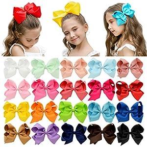 DEEKA 20 PCS Multi-colored 6″ Hand-made Grosgrain Ribbon Hair Bow Alligator Clips Hair Accessories for Little Girls