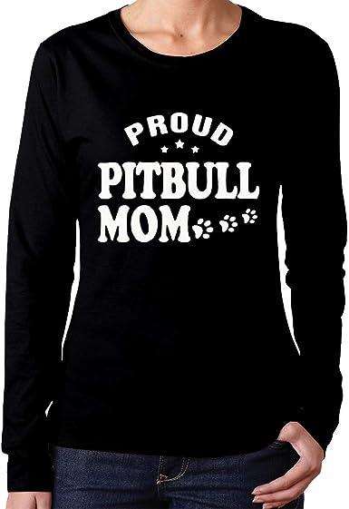 Camiseta de algodón de Manga Larga Proud Pitbull Mom Comfortsoft para Mujer: Amazon.es: Ropa y accesorios