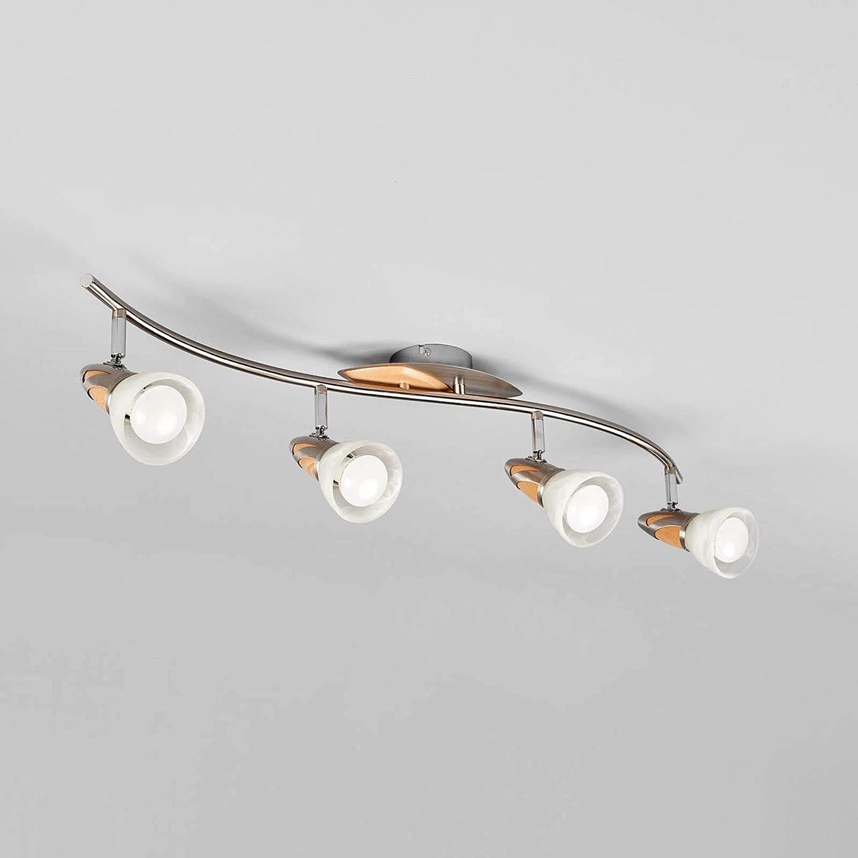 4 flammig, E14, A+, inkl. Leuchtmittel - Lampe in Alu aus Glas u.a Flurleuchte Landhaus, Vintage, Rustikal LED-Deckenlampe Deckenlampe Lindby LED Deckenleuchte Marena f/ür Flur /& Treppenhaus