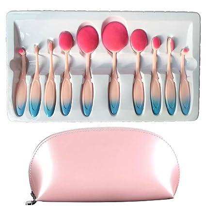 carsend pinceles de maquillaje 10 piezas oval juego de cepillo de maquillaje profesional fundación Corrector Blending