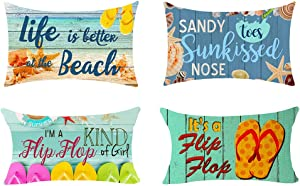 NIDITW Set of 4 Summer Holiday Flip Flop Pattern Life is Better at The Beach Outdoor Cotton Burlap Decorative Rectangle Throw Lumbar Waist Pillow Case Cushion Cover for Couch Living Room 12X20 inches