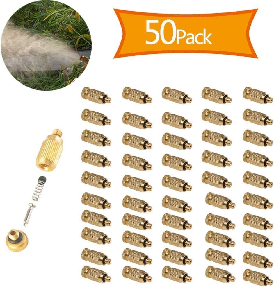 Size : 0.1mm Ugello per Nebulizzazione Nebbia per Sistema di Raffreddamento Esterno GQQG 50 Pezzi Kit Ugelli Nebulizzatori Ottone Alta Pressione 3//16Filettato per Sistema di Raffreddamento Oro