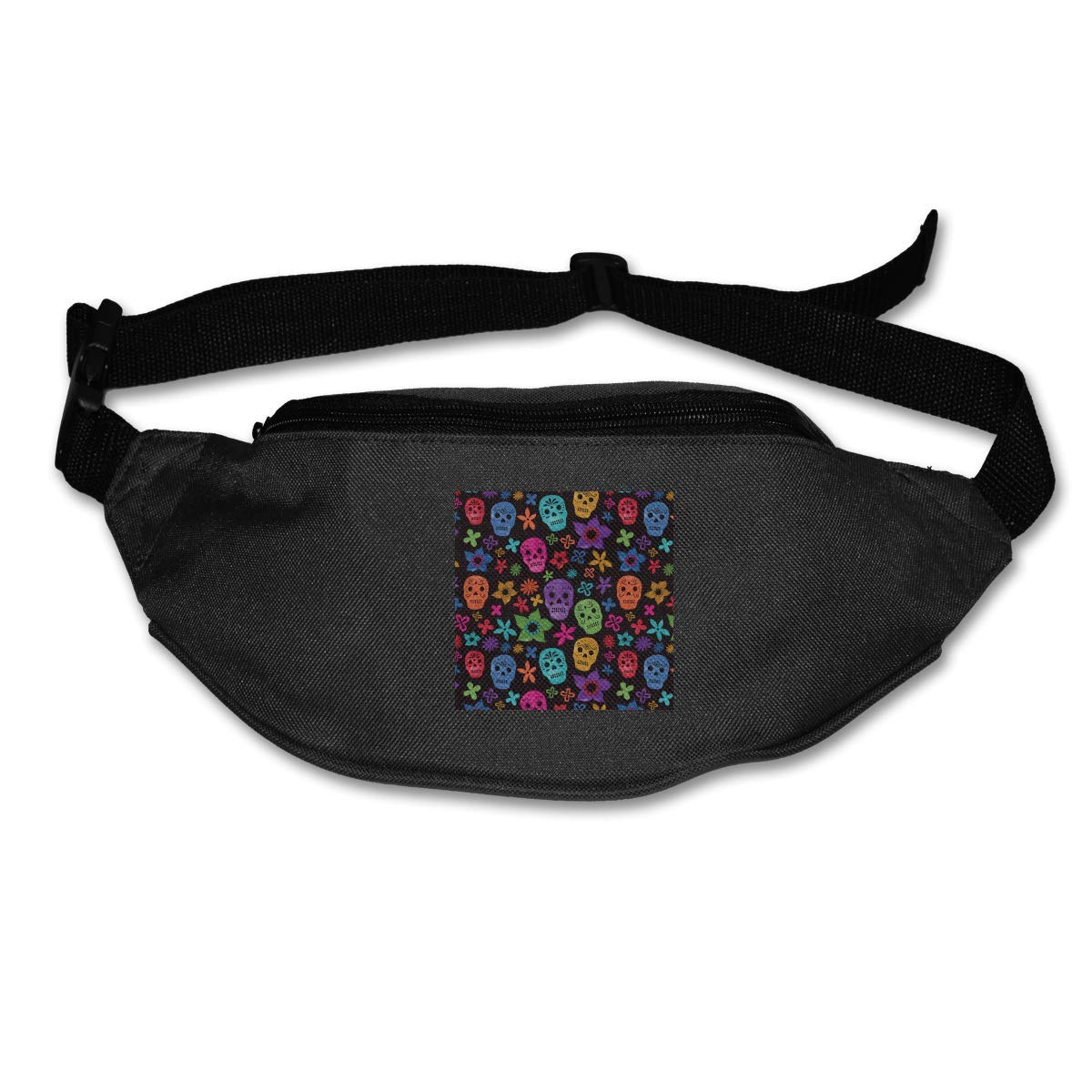 Novelty Colorful Cute Colorful Flower and Skull Canvas Running Waist Pack