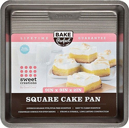 """Sweet Creations Bake Perfect Square Cake Pan, 9"""", Silver"""