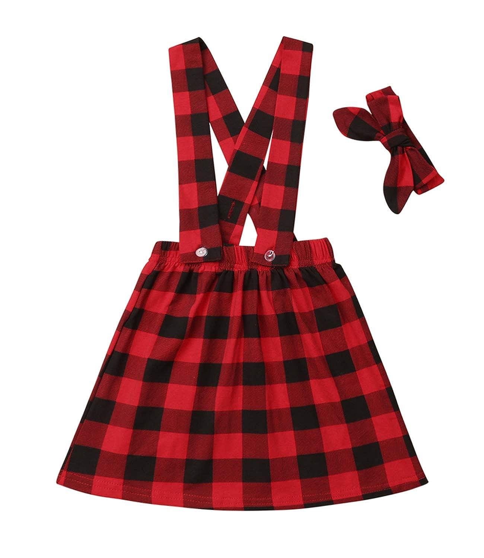 GuguBird Kids Baby Girl Red Plaid Suspender Skirt Strap Dress Headband Set Christmas Outfit for Toddler