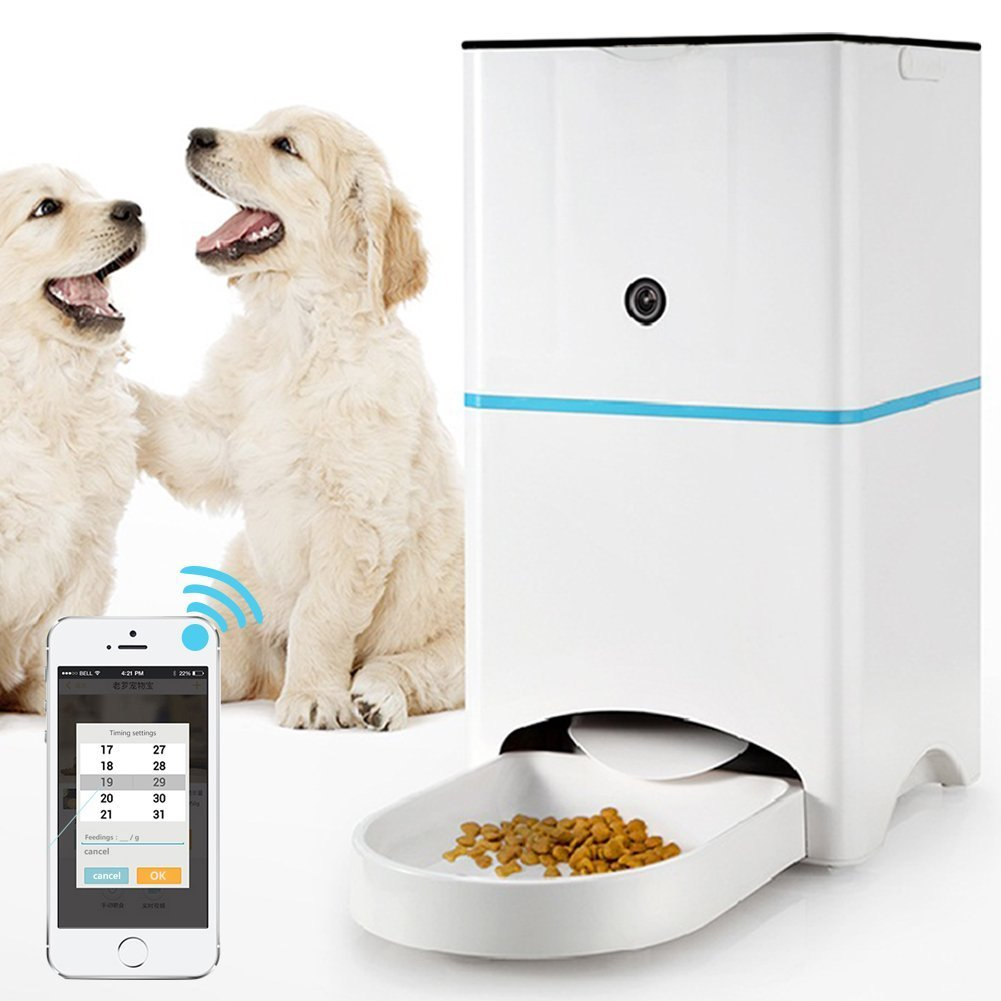 BEIKA Remote Intelligent Pet Feeders Smart Feeder Automatic Dog Cat Feeder Food Dispenser Control with Mobilephone or Other Smart Device Fixed Quantity and Time