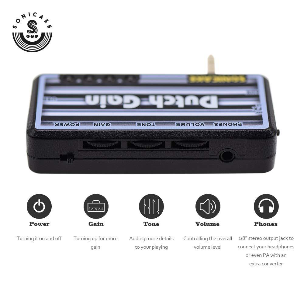 SONICAKE Amphonix Dutch Gain Amplificador de guitarra de bolsillo de auriculares recargable USB de alta ganancia moderno con efectos incorporados y entrada ...