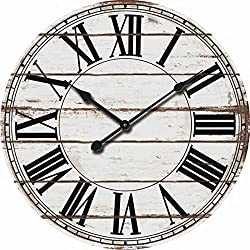 Oversized 24 Rustic White and Black Decorative Wall Clock